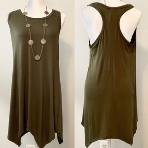 Racerback Olive mini dress
